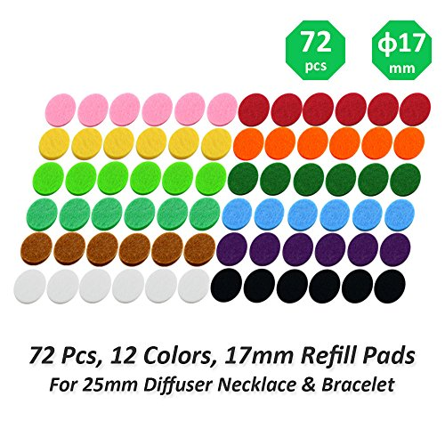 72 Pcs 12 Colors Aromatherapy Diffuser Necklace Refill Pad / 17mm Diameter for 25mm Diffuser Locket/Replacement Pads/Thickened / Washable/Super Absorbent