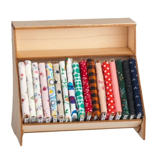 Dollhouse Miniature Fabric Display Shelf with Fabric Bolts