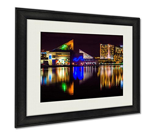 Ashley Framed Prints The Legg Mason Building And National Aquarium At Night In The I  Wall Art Home Decoration  Color  30X35  Frame Size   Ag5645443