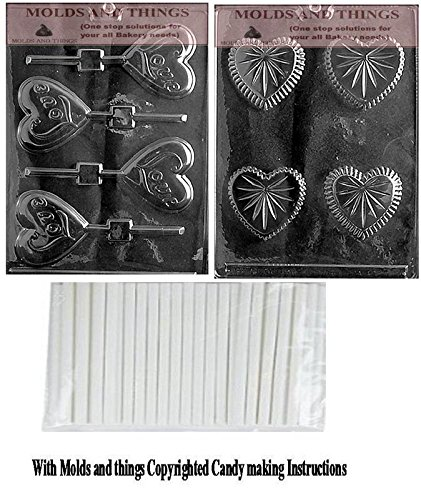 Small Heart Pour Box Chocolate Candy Mold & LOVE HEART LOLLY Chocolate Candy Mold, Valentine- Flower Chocolate Candy Mold with copywrited molding Instructions + 25 sticks