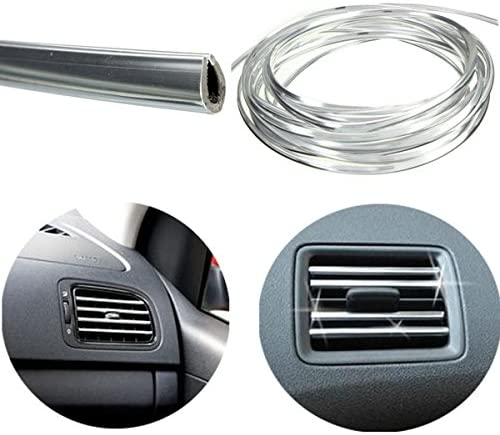 Viviance 4Mx8Mm U Forme Voiture Air Vent Grille Interrupteur Jante Garniture Bande Moulage Chrome Argent