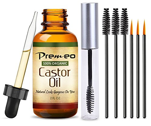 Organic Castor Oil With Applicator Kit 2 OZ Full Travel Tube 100 Pure Cold Pressed Hexane Free Fabulous For Eyelashes Hair Eyebrows Face And Skin