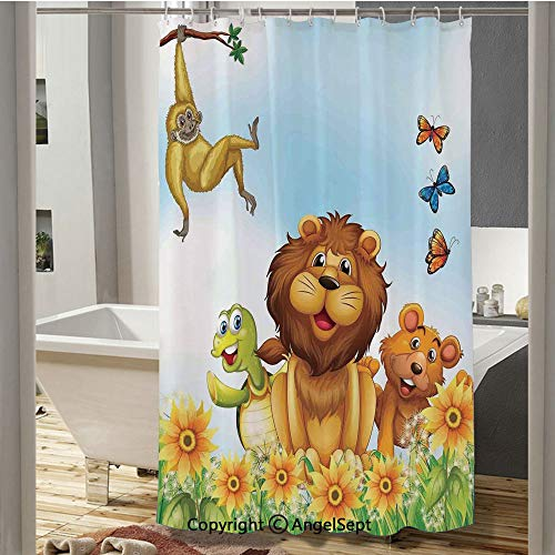 Homenon Happy Animals Relaxing in Flowers Nature Butterfly Lion King Artsy Graphic Plastic Curtain(37