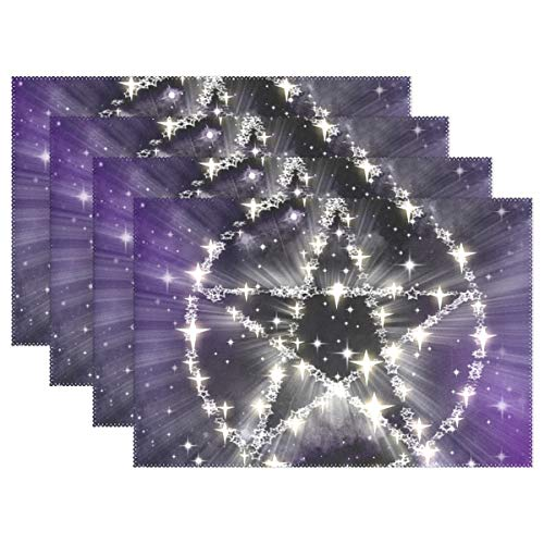 Stars Pentagram Magic Witchcraft Halloween Placemats Set Of 4 Heat Insulation Stain Resistant For Dining Table Durable Non-slip Kitchen Table Place Mats ()