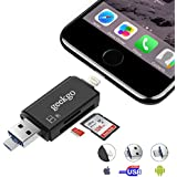 Geekgo SD Card Reader,Micro SD USB Memory Card Reader Adapter Viewer for iPhone iPad Android Mac - Supports Lightning Micro USB OTG 3 in 1 (Black)