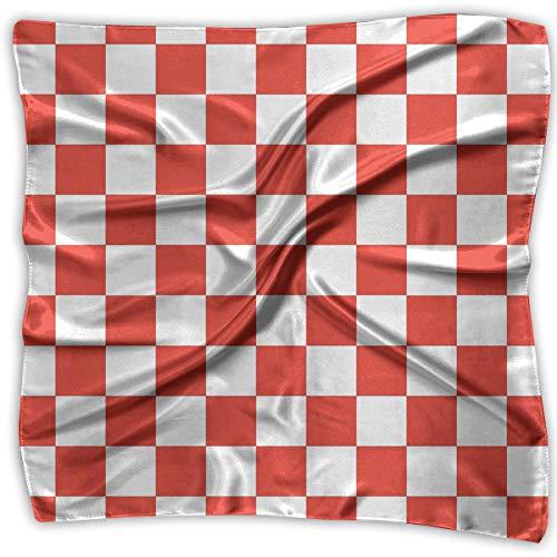 (XUJ YOGA Women Fashion Soft Square Red and White Checkered Kerchief Scarf Satin Silk Chiffon Head Neck Multiuse Polyester Scarves)