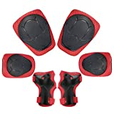 Child Kids Protective Gear Set, 6pcs Knee and Elbow Pads with Wrist Guards Toddler for Bike Cycling Safety( Red )