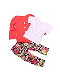 Mapletop 1Set Kids Toddler Girls Long Sleeve T-Shirt Tops+Coat+Pants Clothes Outfits