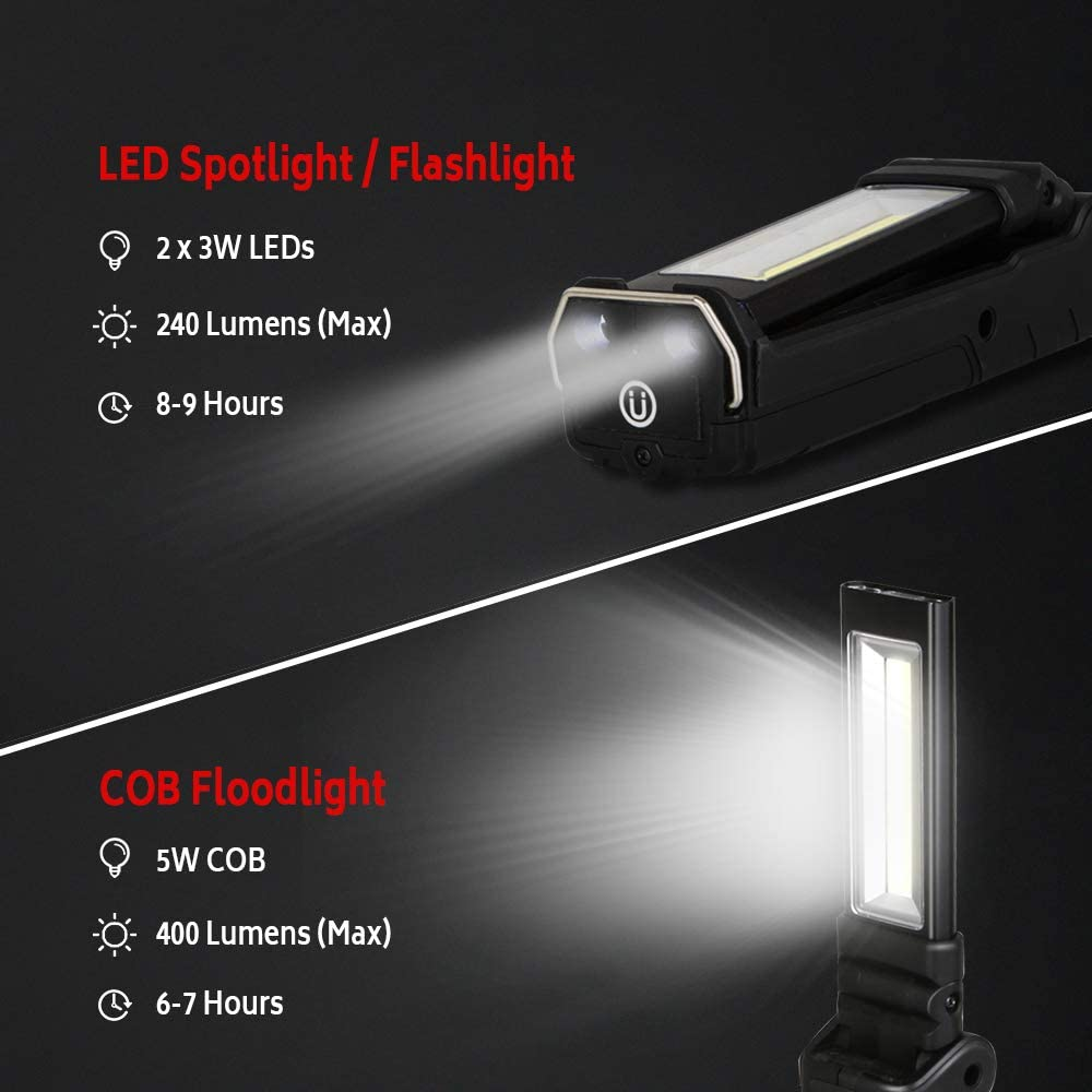 4000mAh Batteries for Repair Garage Emergency Rechargeable Flashlight Torch Handheld Inspection Lamp Portable Worklight with Strong Magnetic Base 270/° Rotation DR.PREPARE COB LED Work Light