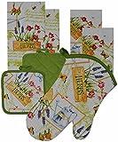 7 Pieces Cotton Kitchen Linen Set. (Oven Mitt, Kitchen Towels, Pot Holders) (Herbs)