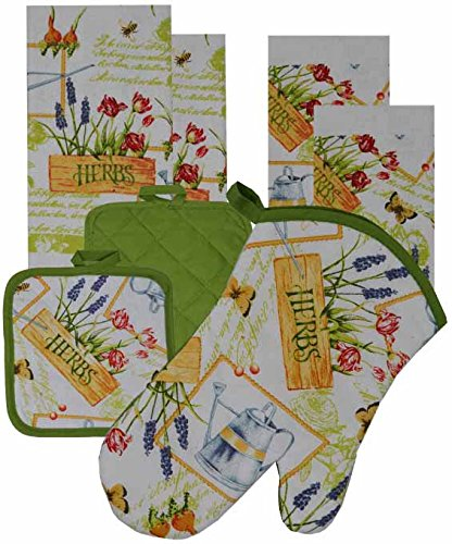 7 Pieces Cotton Kitchen Linen Set. (Oven Mitt, Kitchen Towels, Pot Holders) (Herbs) by GinsonWare