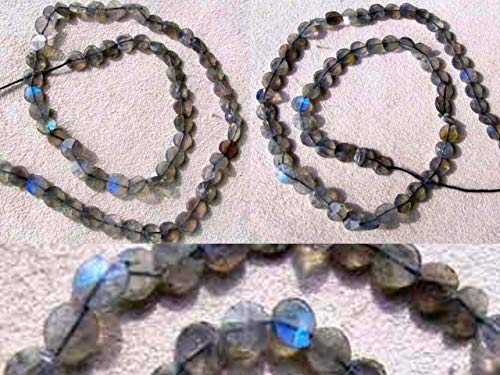 3 Labradorite Flash Faceted Coin Beads for Jewelry Making 7499