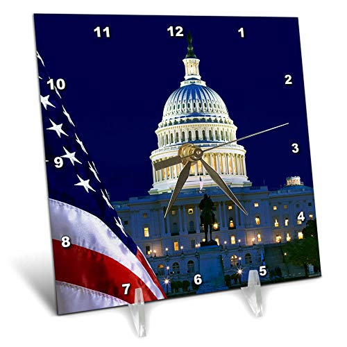 3dRose Danita Delimont - Washington DC - USA, Washington DC. Capitol Building and US Flag at Night. - 6x6 Desk Clock (dc_314756_1)