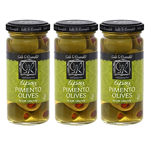 Sable & Rosenfeld Cocktail Garnishes - Earth Kosher - Vermouth Tipsy Pimento Olives - 3 Pack (5 oz each)