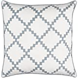 22'' Cotton White and Ash Gray Linen Decorative Throw Pillow- Down Filler