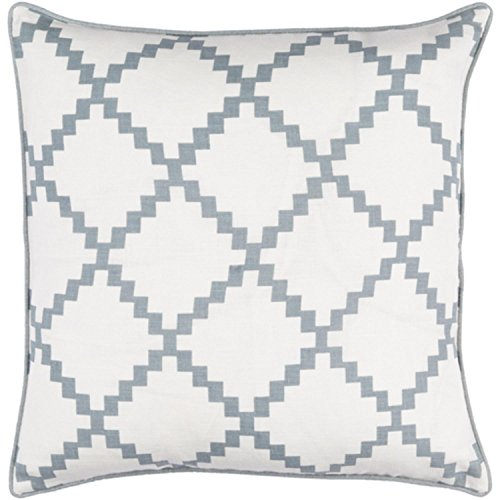 22'' Cotton White and Ash Gray Linen Decorative Throw Pillow- Down Filler by Diva At Home