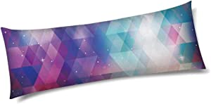 """INTERESTPRINT Geometry Background with Galaxy Long Body Pillow Cover with Zipper 21""""x60"""" Cute Design"""