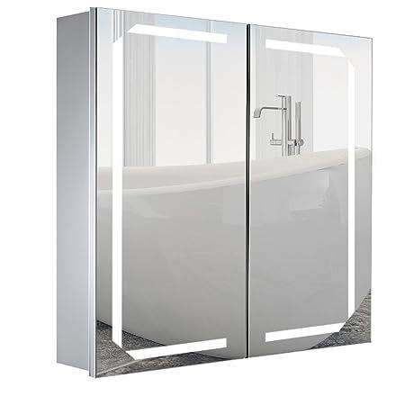 Amazon De Warmiehomy Led Beleuchteter Badezimmer Spiegelschrank Mit