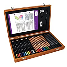 Derwent 2300147 Academy Wooden Box Art Kit, 35 Pieces Including 30 Pencils