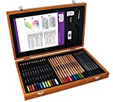 Derwent Academy Colouring and Graphite Sketching Pencils, Set of 30, Wooden Box, Accessories Included, High Quality, 2300147