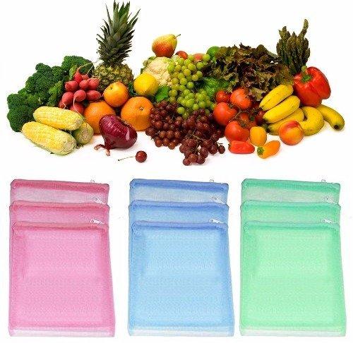 Ketsaal (Pack of 12) Multi-Purpose Vegetables Fruits Mesh Fridge Storage Washable Zip Bags. Price & Reviews