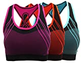 aimilian Women's Seamless Padded Sports Bra Workout Yoga Bras L Blue Rose Green For Sale