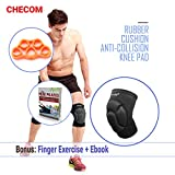 CHECOM Stretchy Sport Knee Pads and Finger Exercise Trainer Set for Multi Sports Safety Protection: Volleyball, Skateboard, Hockey And Other Extreme Sports / Unisex Adult Sizes (Only Black)