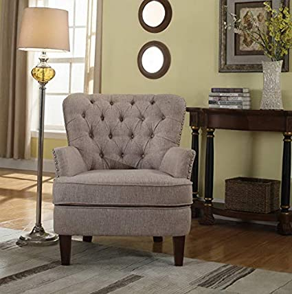 Amazon.com: Hebel Button Tufted Accent Chair with Nailhead ...
