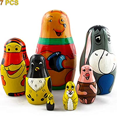 MATRYOSHKA&HANDICRAFT Matryoshkas Russian Nesting Dolls Disney Cartoon About Winnie The Pooh Set 7 pcs Wooden Toys: Toys & Games