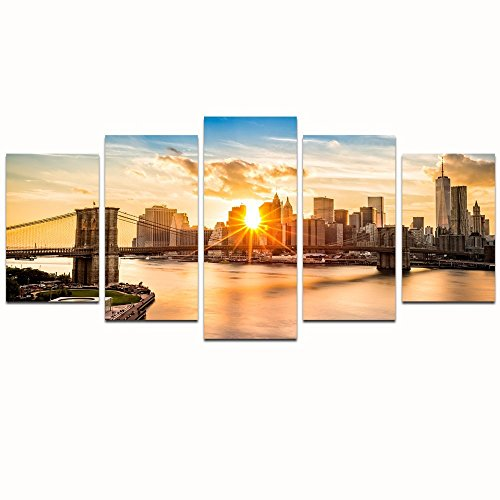 LevvArts -5 Panel Modern Canvas Wall Art,New York Sunrise Brooklyn Bridge Canvas Prints Manhattan Hudson River Picture Wall Art,Living Room Office Decor Framed and Easy Hanging