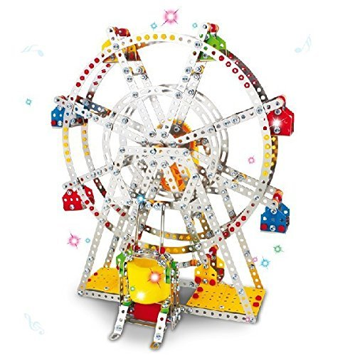 Motorized Set (Ferris wheel Building model with metal Beams and screws Lights & Music 954 pcs)