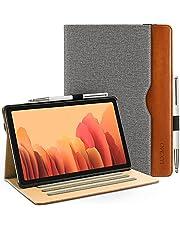 LUCMO Fodral kompatibelt med Samsung Galaxy Tab A7 10,4 tum 2020, PU-läderfodral Galaxy Tab A7 plånboksfodral surfplattefodral Samsung Galaxy Tab A7 T500/T505/T507, brun