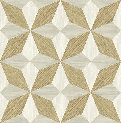 A-Street Prints 2908-25302 Valiant Beige Faux Grasscloth Geometric Wallpaper