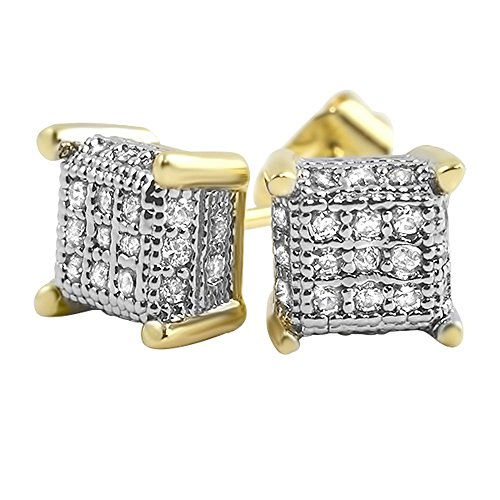 (Gold Tiny Cube Ice Bling Bling Micro Pave Earrings )