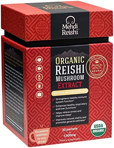 Organic Reishi Mushroom Extract Powder by Mehdi Reishi 30 Servings, 1,000mg 100 Pure, Authentic and Organic Medicinal Powders Ganoderma Lucidum, Lingzhi Beta Glucan 20 Potency