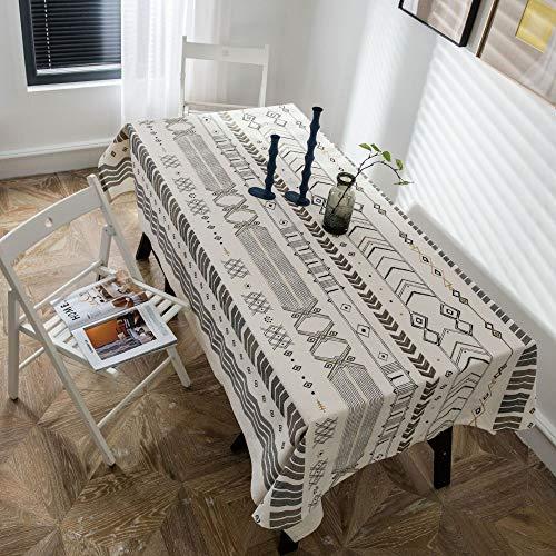 LMDY Decoracion del hogar Mantel Patron geometrico Sala de Estar Bohemia Hogar Mantel de algodon Rectangular Mesa de Comedor Blanco y Negro 140 * 200CM