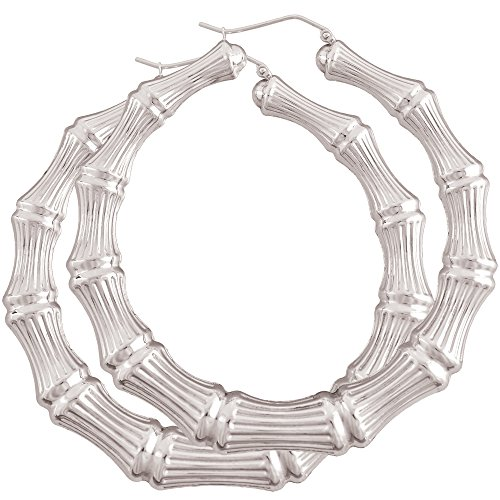 Large Rhodium Plated Sterling Silver Bamboo Earrings Round Door Knocker Hoops 2 7/8 (Sterling Silver Bamboo Earrings)