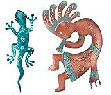 Regal Art & Gift Kokopelli and Gecko Decor 11'' (Blue) Wall Décor for Home, Garden, Window and Wall Art