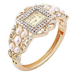 Bangle Wrist Watch With Crystal