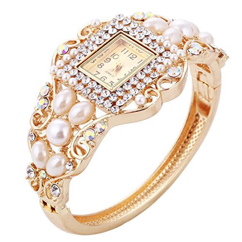 Womens Quartz Bangle Wrist Watch Lady Crystal Jewelry Bracelet Watches (Bracelet Quartz Bangle Watch)