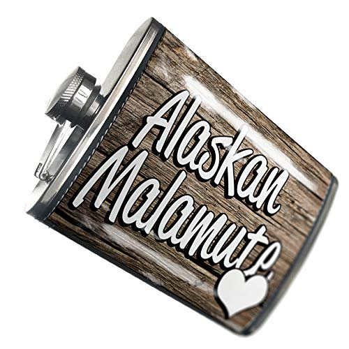 NEONBLOND Flask Alaskan Malamute, Dog Breed United States Hip Flask PU Leather Stainless Steel Wrapped