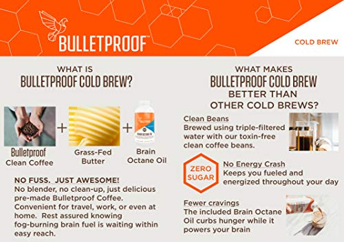 Bulletproof Cold Brew Coffee, Keto Friendly, Sugar Free, with Brain Octane oil and Grass-fed Butter, (Mocha) (12 Pack) by Bulletproof (Image #2)