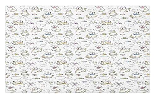 (Lunarable Sketch Doormat, Chubby Kitties Above The Puffy Clouds Dreaming of Fish Domestic Pets Craving Food, Decorative Polyester Floor Mat with Non-Skid Backing, 30 W X 18 L Inches, White Tan)
