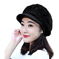 muco Womens Beanie Winter Hat Knit Chunky Faux Fur Warm Linling Pom Poms Hat Bobble Hat Ski Cap