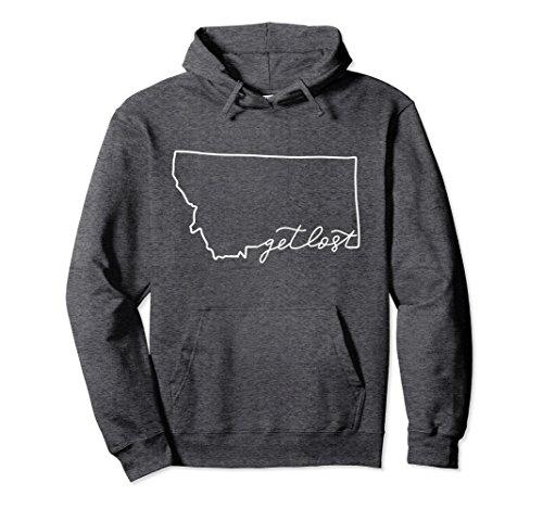 Unisex Montana Get Lost Pullover Hoodie Gift Travel Wanderlust Medium Dark Heather