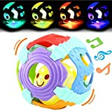 Baby Ball,Can Flashing Light and Sounds, Rattle Ball Toy With Gift Box,Yeonha Toys Grip Ball With Holes For Baby Infant Toddler Kids, Teeher Toy Durable Bendy Safety Soft Material