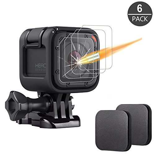 [6 Pack] Tempered Glass Screen Protector for Gopro Hero 4 Session Hero 5 Session (4-Pack) & Lens Cap Cover (2-Pack) By Akwox