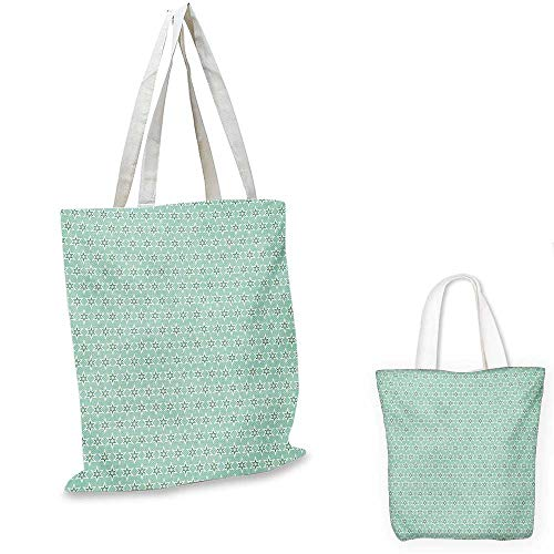 Turquoise shopping bag storage pouch Monochrome Star Pattern Horizontal Rows Space Inspirations Lines Background small tote shopping bag Mint White Cream. 12