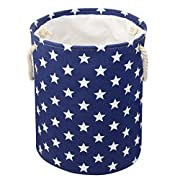 Jacone Lovely Stars Pattern Design Nursery Hamper Cotton Fabric Washable Cylindric Storage Basket with Rope Handles, Decorative and Convenient for Kids Bedroom (Blue)