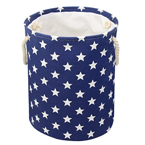 Rope Pattern (Jacone Lovely Stars Pattern Design Laundry Hamper Cotton Fabric Washable Cylindric Storage Basket with Rope Handles, Decorative and Convenient for Kids Bedroom (Blue))